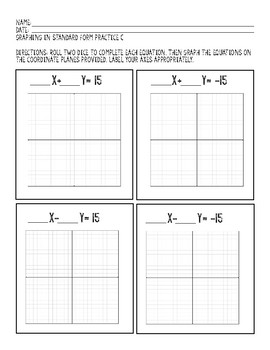 Differentiated Dice Activity: Graphing in Standard Form