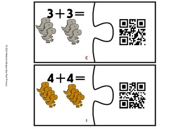 Differentiated Dino Doubles Facts QR Puzzles