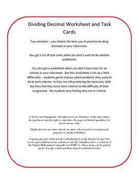 Differentiated Divide Decimal Worksheet/Task Cards