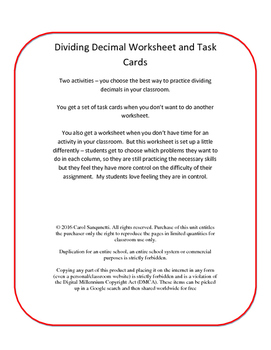 Differentiated Divide Decimal Worksheet/Task Cards