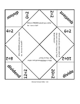 Differentiated Division Fortune Teller Cootie Catchers with Movie ?s