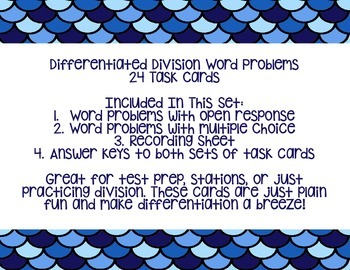 Differentiated Division Word Problem Task Cards 4.NBT.6