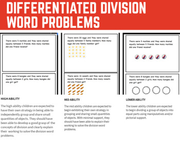 Division: Word Problems Task Cards - Differentiated
