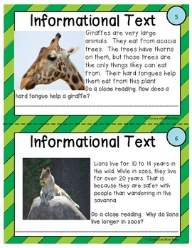Differentiated Dry Erase Close Reading Task Cards Informational Text
