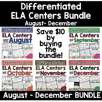 Differentiated ELA Centers August-December 2nd Grade BUNDLE