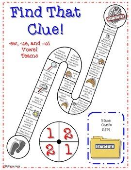 Differentiated -EW, -UE, -UI Vowel Team Game- Find That Clue