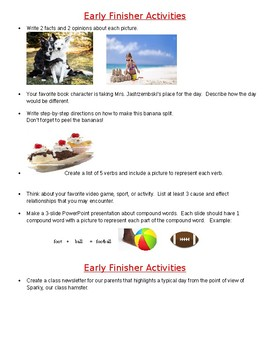 Differentiated Early Finisher Activities