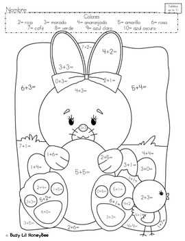 Differentiated Easter Coloring Page- SPANISH by HoneyBee ...