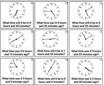 Differentiated Elapsed Time Clocks Review Practice Task Ca