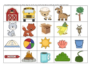 Elkonin Sound Boxes & Picture Cards Differentiated Small Group Activity