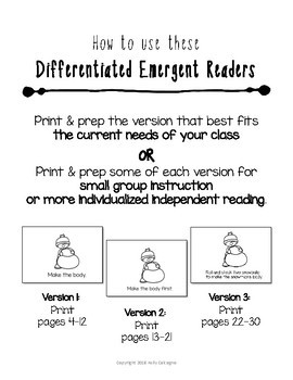 Differentiated Emergent Readers - How to Build a Snowman