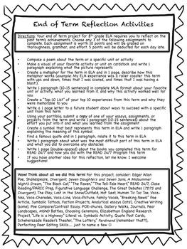 Differentiated End of Term Reflection Activities for ELA