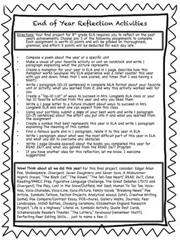 Differentiated End of Year Reflection Activities for ELA