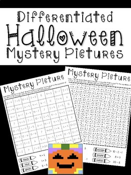 Differentiated Equal Equations Halloween Mystery Pictures
