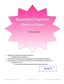 Differentiated Equivalent Fractions Memory Game