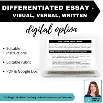 Differentiated Essay Assignment - Visual, Verbal, Written - Secondary ELA