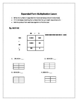 Differentiated Expanded Form Multiplication Lesson