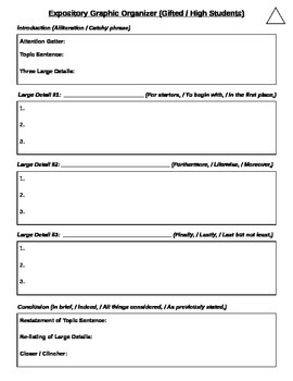 Differentiated Expository Writing Rubric & Organizer