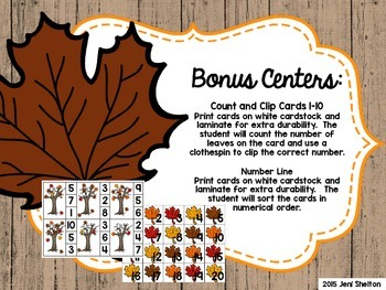 Differentiated Fall Counting Math Center {Leaves}