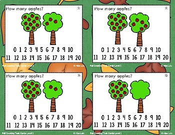 Differentiated Fall Counting Task Cards {4 Levels}