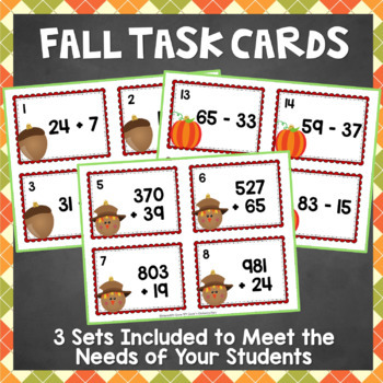 Fall Math Task Cards Activity - Differentiated Addition and Subtraction