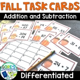 Fall Math Task Cards Activity - Differentiated Addition an