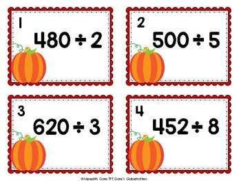 Differentiated Fall Math Task Cards - Division