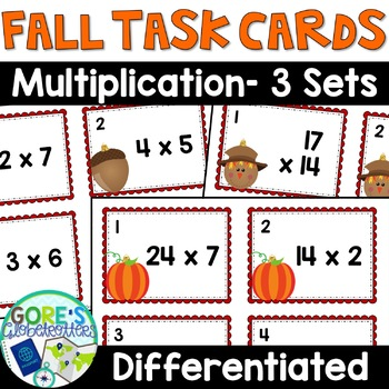 Fall Math Activity - Differentiated Multiplication Task Cards