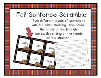Differentiated Fall Sentence Scrambles