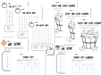 Differentiated Fall Word Study Activities