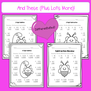 Differentiated February No Prep Math Printables