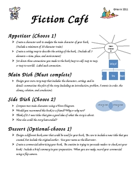 Differentiated Fiction and Non-Fiction Cafe Menus