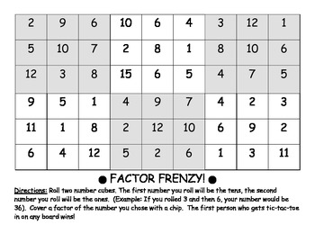 Differentiated File Folder CCSS Games - Factors, Multiples