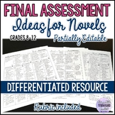 Differentiated Final Project/Assessment Ideas for Novels (