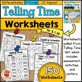 Differentiated First Grade Telling Time Worksheets
