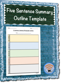 Differentiated Five 5 Sentence Summary Paragraph Graphic Organizer Template