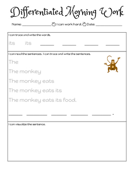 Differentiated Fluency Morning Work: Fry Sight Words 81-100