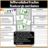 Differentiated Fraction Flashcards and Games- Green Theme