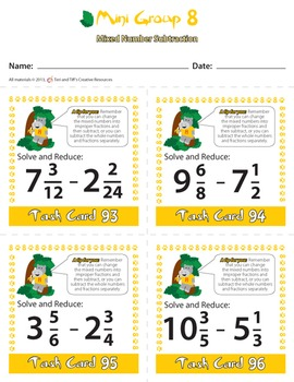 Fraction Task Cards – Differentiated Addition and Subtraction Math Problems