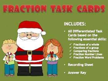 Differentiated Fraction Task Cards (Holiday Themed!)