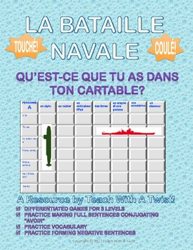 Differentiated French Battleship game -Avoir + dans le cartable- Bataille Navale