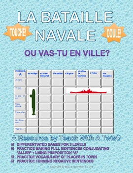Differentiated French Battleship game - Aller + places in town - Bataille Navale