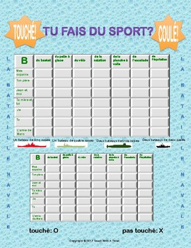 Differentiated French Battleship game - Faire du sport - Bataille Navale