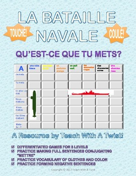 Differentiated French Battleship game - Mettre + vêtements - Bataille Navale