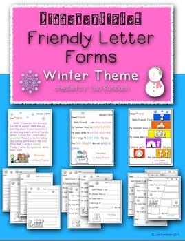 Differentiated Friendly Letter Forms BUNDLE of all 4 Themes