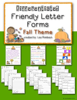 Differentiated Friendly Letter Forms FALL Theme