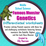 Differentiated Genetics Worksheets with Famous Monsters