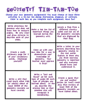 Differentiated Geometry Choice Board (Tic-Tac-Toe)