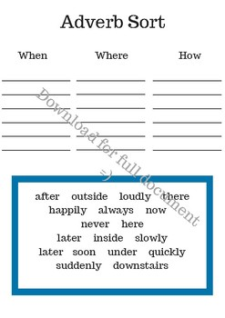Differentiated Grammar Sorts- Parts of Speech, Nouns, Adverbs