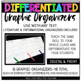 Differentiated Graphic Organizers for Grades 3-6 {16 Organizers-3 Levels}